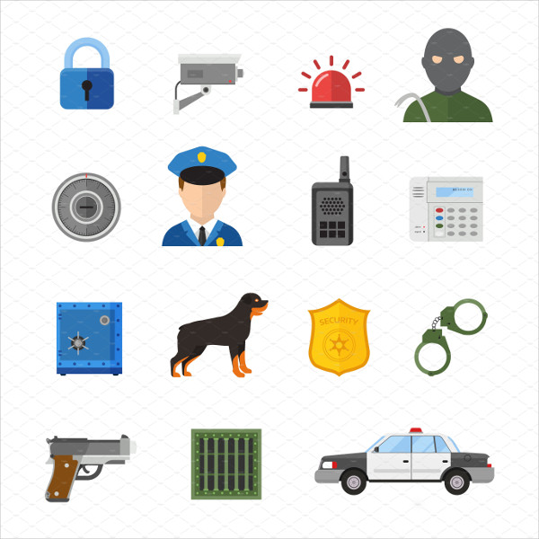 Vector Security Icons Isolated on White Background