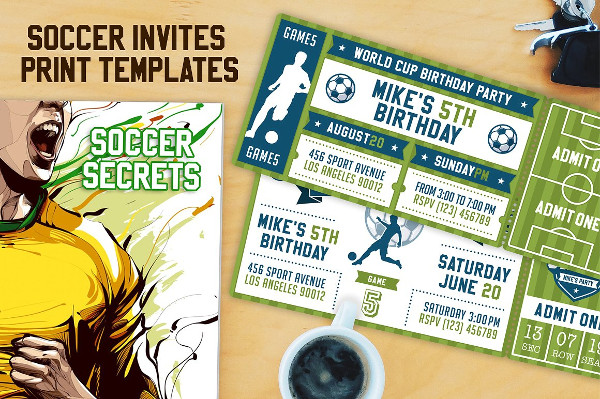 Vector Soccer Party Ticket Invitations