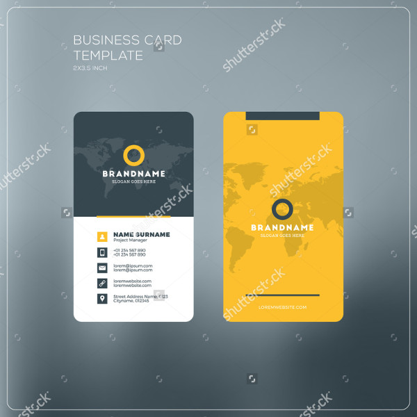 Vertical Print Business Card Template