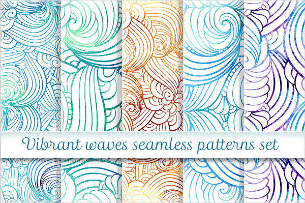 Vibrant Waves Seamless Patterns Set