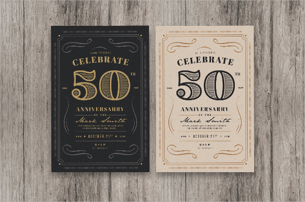 50th Anniversary Invitation Cards