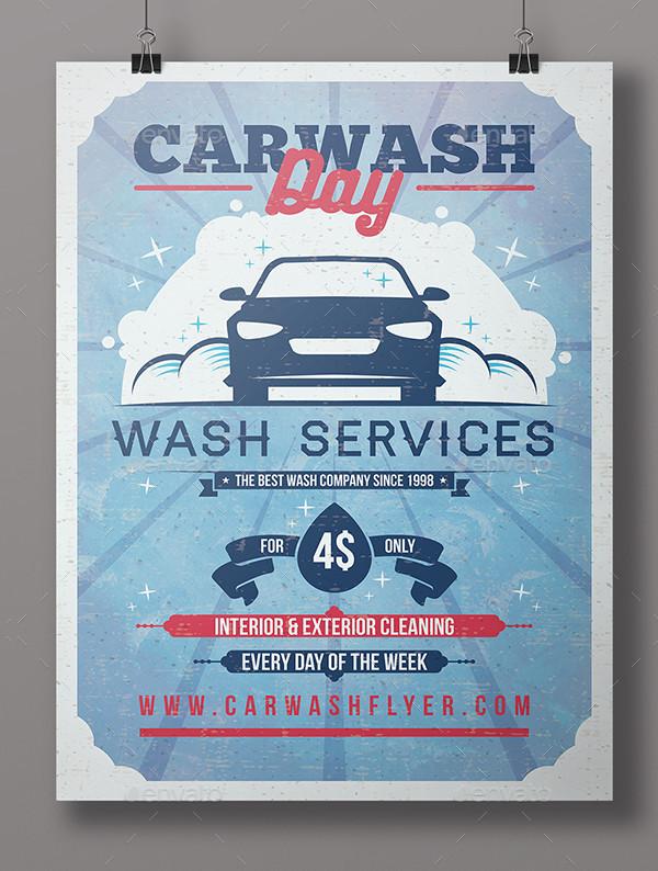 Vintage Car Washing Day Flyer