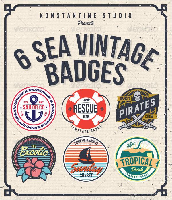 6 Sea Vintage Badges