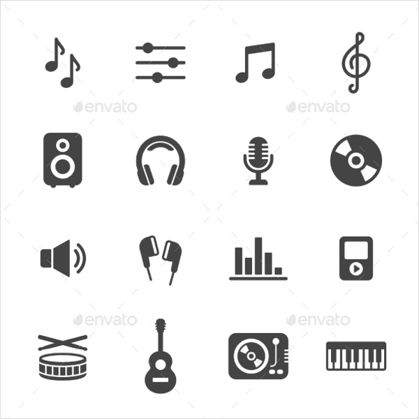 Simple Flat Vector Icons for Music