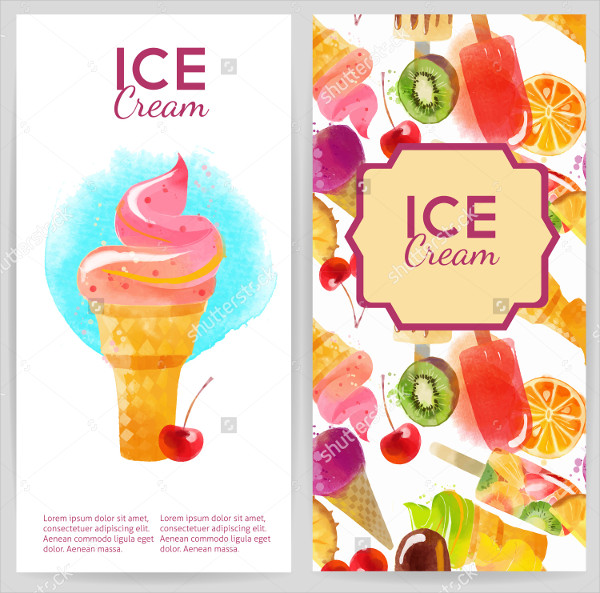 Watercolor Ice Cream Flyer Backgrounds