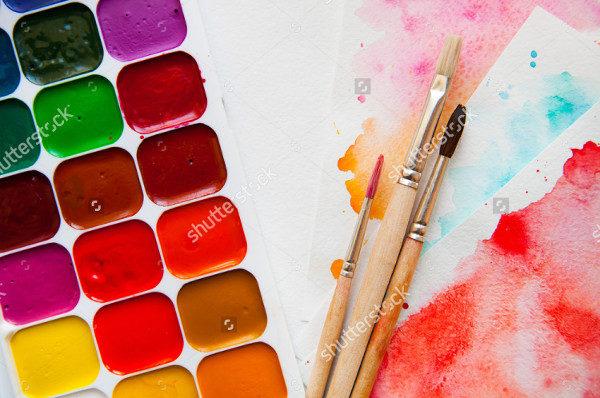 Palette Watercolor Paints Brushes