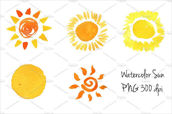 Watercolor Sun Icons Set