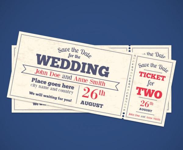 Wedding Invitation Tickets Free Vector