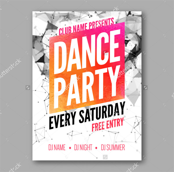 Clean Dance Party Poster or Flyer Template
