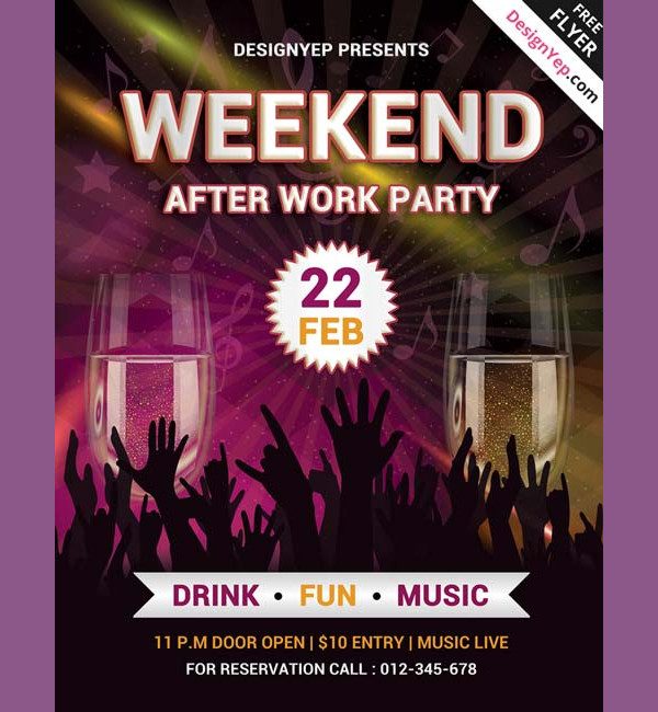 Weekend Party Free PSD Flyer Template