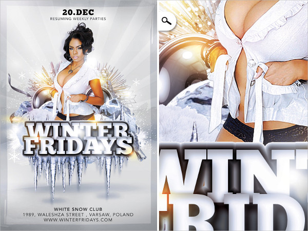 Winter Friday Party Flyer Template