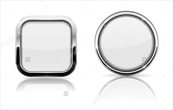 White Glass 3D Shiny Buttons