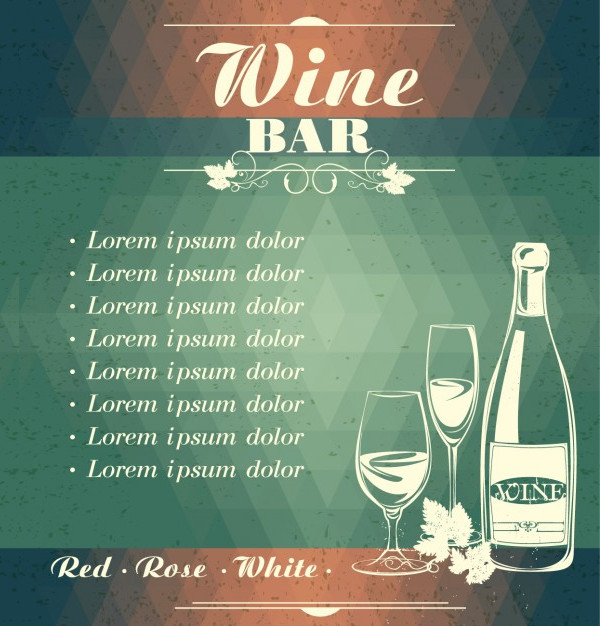 Wine Bar Menu Free Vector Flyer