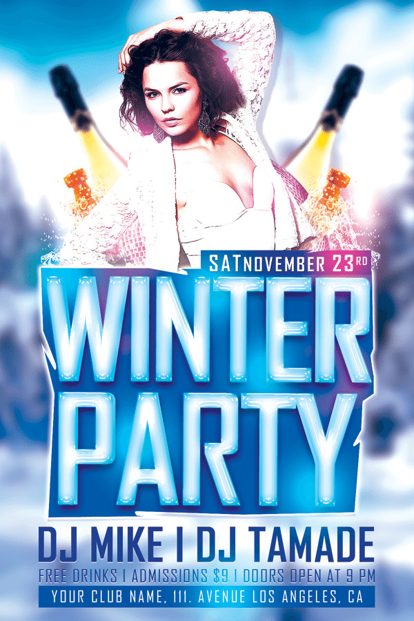 Winter Bash Free Club PSD Flyer
