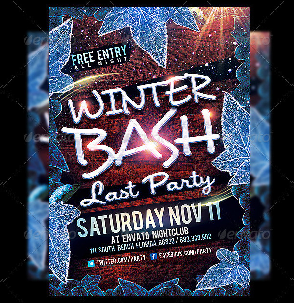 Winter Bash Party Flyer Design