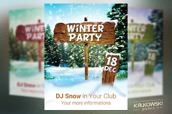 Winter Party Flyer Or Poster Template