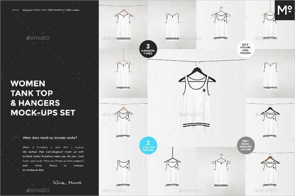 Women Tank Top & Hangers Mock-ups Set