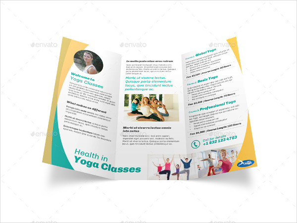Yoga Fitness Trifold Brochure Template