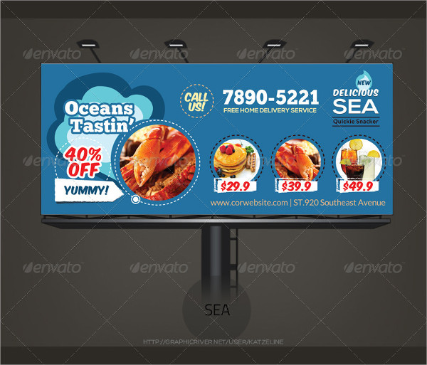Yummy Tasting Restaurant Billboard Template