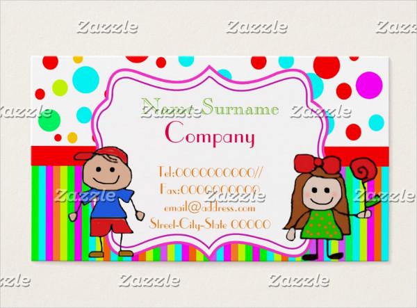 Nursery School Babysitter Business Card