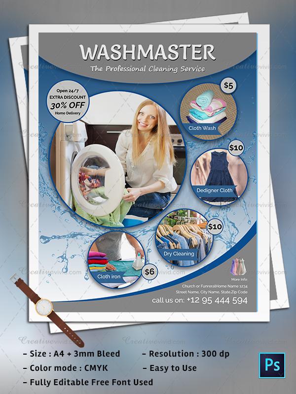 Latest Laundry Flyers PSD