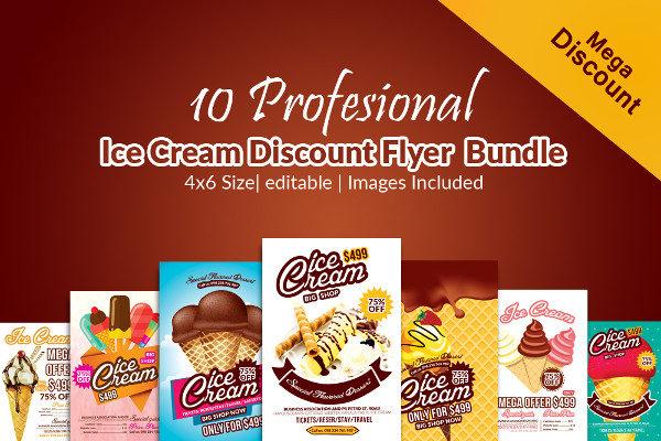 10 Professional Ice Cream Flyers Bundle