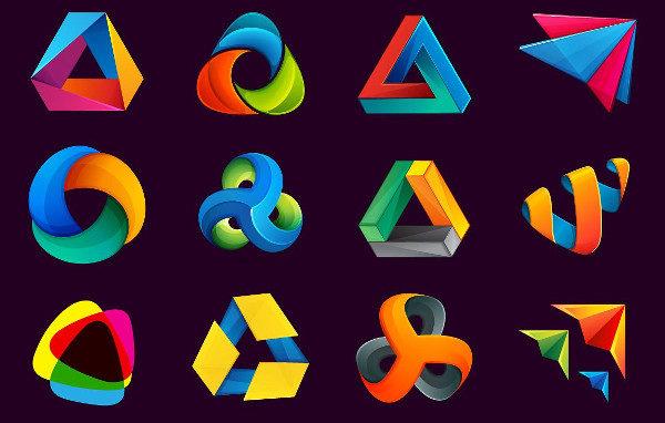 12 Triangle Logos Set Vector