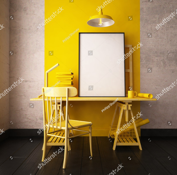 3D Illustration Interior Mockup in Hipster Style