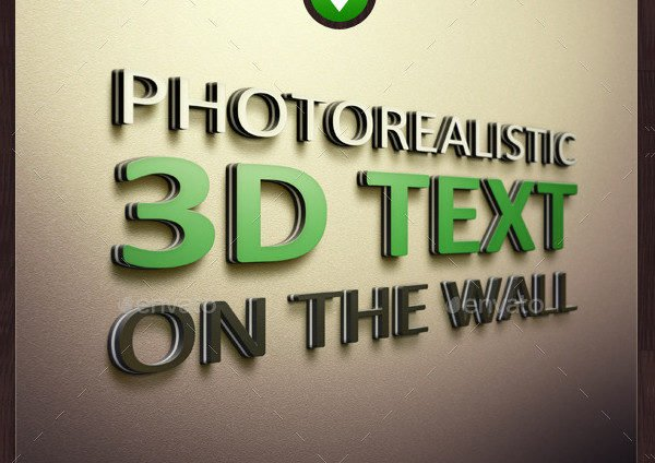 Photorealistic 3D Text on the Wall Mockup