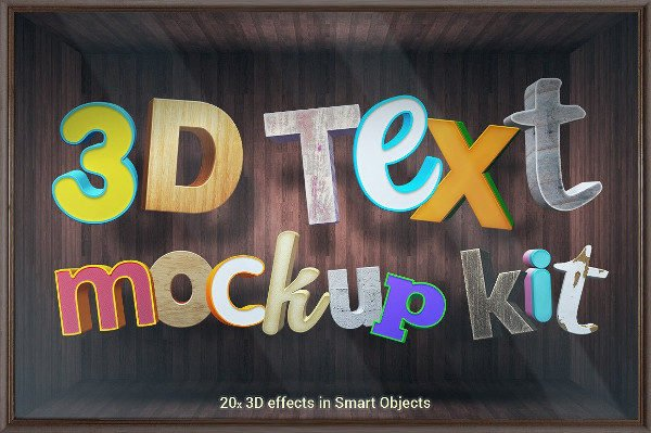 Colorful 3D Text Mockup Kit