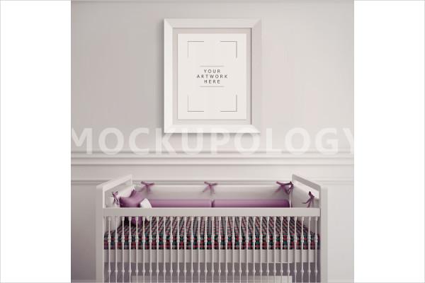 8x10 White Frame Nursery Interior Mockup