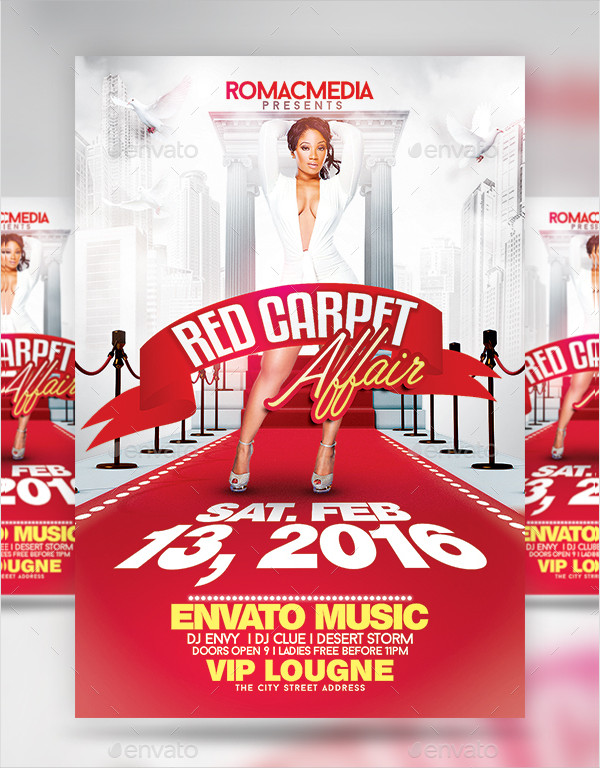 Red Carpet Party Promotion Flyer Template