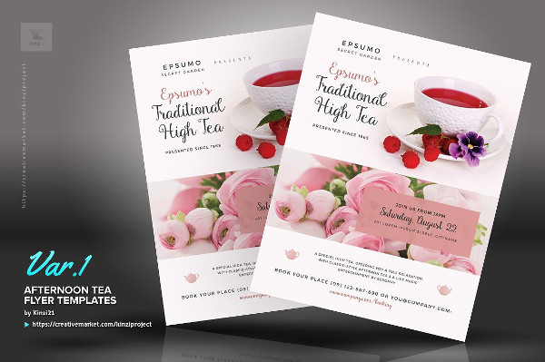 Afternoon Tea Invitation Flyer Templates