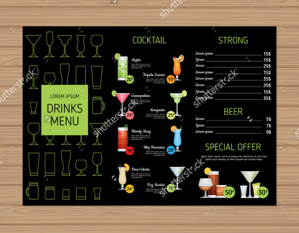Alcohol Drinks Menu Template