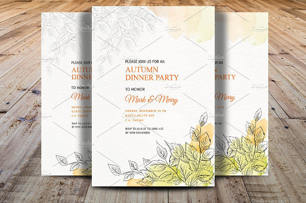 Autumn Dinner Party Event Invitations