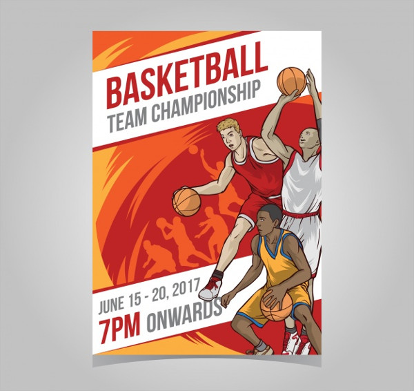 Free Basketball Tournament Brochure with Players