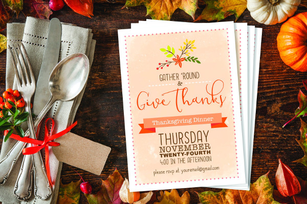 Beautiful Thanksgiving Dinner Party Invitation Template