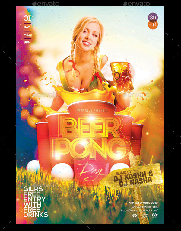 Beer Pong Game Party Flyer Template