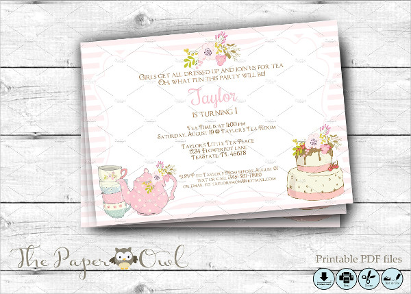 Birthday Tea Party Invitations