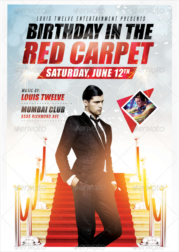 Birthday in the Red Carpet Flyer Template