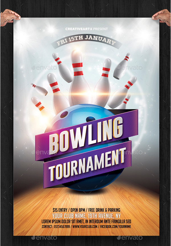 Bowling Night Event Flyer Template