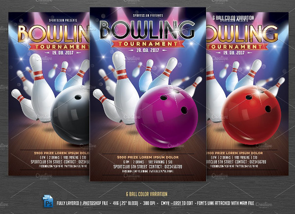 Bowling Tournament Invitation Flyer
