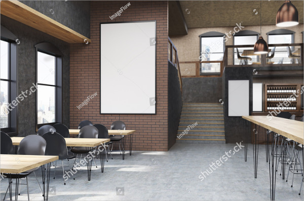 Cafe Interior Mockup with Posters