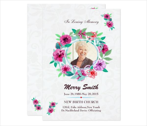 Simple Funeral Prayer Card Template