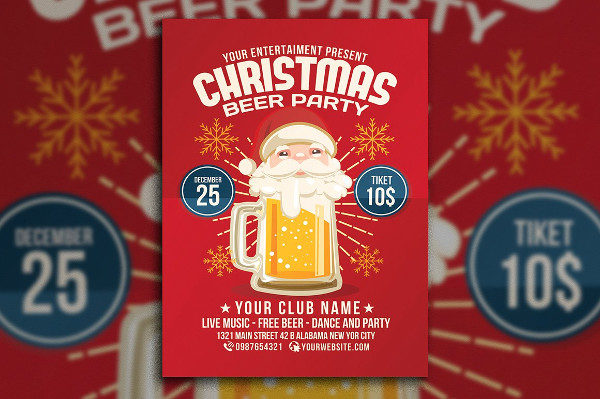 Christmas Beer Party Club Flyer Template