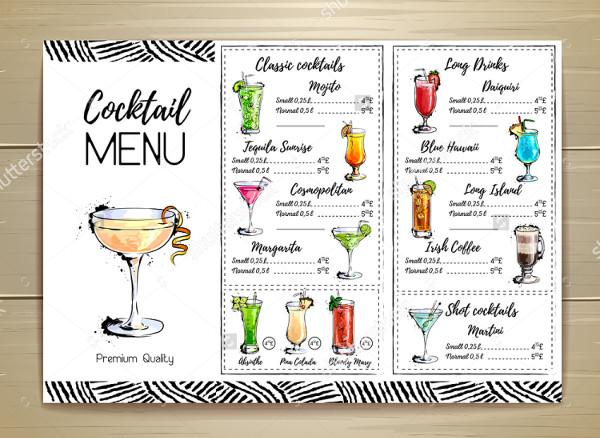 Classic Bar Menu Design