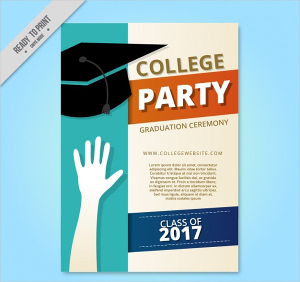 College Party Brochure with Graduation Cap Free
