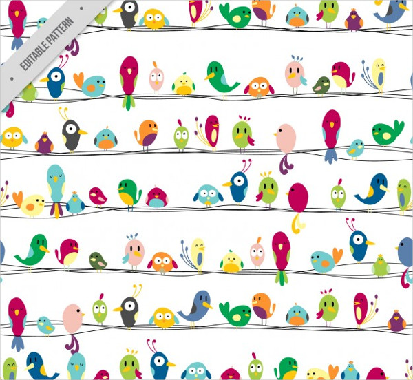 Colorful Nice Birds Pattern Free Vector