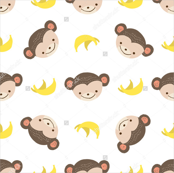 Cute Monkey Bananas Vector Seamless Pattern