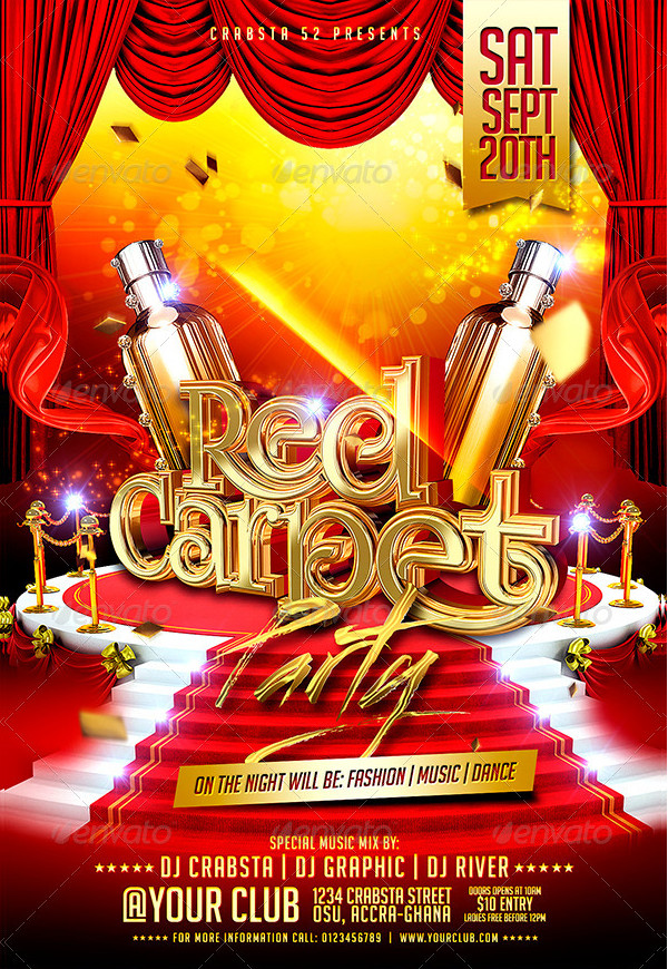 25 Red Carpet Party Flyer Templates Free Premium